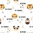 JUNGLE LIFE PORTRAIT ANIMALS   Animals children's fabric   Scandinavian seamless pattern   Panda