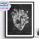 Floral Heart Anatomy Print Chalkboard Art Surgeon Gift Cardiologist Gift Clinic Decor Doctor Gift Me