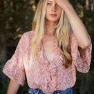 Misa Lindsay Top In Rose Python - S