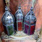 Moroccan Lantern, Small Lantern, Tealight Lantern, Moorish Decor, Boho Decor, Hand Made Lantern, Glass Lantern, Rainbow Lantern, Multi Color
