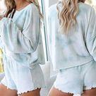 Sky Blue Tie dye Pajamas Loungewear Set   L / Sky Blue Tie dye Pajamas Loungewear Set / 95Polyester+5Spandex