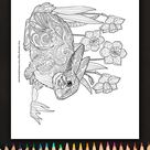 Zentangle Rabbit and Daffodils Coloring Page • FREE Printable eBook