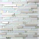 Crystal White Glass Mosaic Metal Tile Backsplash Bathroom | Etsy