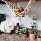 Fruit Veggie Hammock Macrame Hanging Basket Produce Storage   Etsy