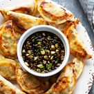 Sheet Pan Spicy Chicken Potstickers with Ginger Sauce