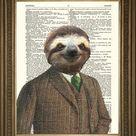 SLOTH ART PRINT: Fun Animal in Suit Dictionary Art