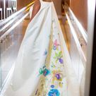 Hand Painted Wedding Dress Orchids and Hummingbirds Custom Made