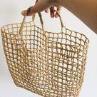 PDF Pattern Crochet Raffia Net Tote Bag  - easy crochet bag pdf pattern straw tote net shopping bag