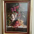 RETIRED VINTAGE HOME INTERIOR FLORAL CUPID PICTURE RETIRED VINTAGE HOME INTERIOR LARGE FLORAL CUPID PICTURE   LARGE,HEAVY,RETIRED  EXCELLENT CONDITION    SIGNED by ARTIST FRAN DI GIACOMO  CHERUB WITH GRAPES  glassed picture is in a simulated wood ornate gold trim frame with colors of reds and maroon Back Board is Clean & Has all Screws Ready to Hang Weighs 10 pounds  30 1/2