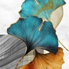 Green Golden Leaves Poster Modern Luxury Decor Canvas Painting Nordic Home Decor Wall Art Poster and Print Minimalist Art - 60x80cm no frame / B