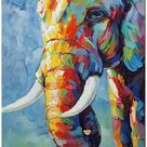 Hand Painted Impressionist Elephant Oil Painting On Canvas  Contemporary Multi colored Safari Animal Fine Art WHAT BRILLIANT COLORS