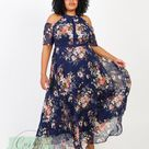 Lovedrobe Luxe Navy Cold Shoulder Floral Maxi Dress - 20