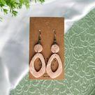 Faux Stone Window Earrings - Rose Quartz