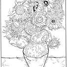 Kids-n-Fun   Kleurplaat Vincent van Gogh Zonnebloemen 1888