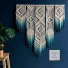 Geometric Macrame Wall Hanging   Multiple colors available   Grey Turquoise, Mustard Yellow, Navy Blue etc