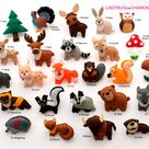 FOREST ANIMALS  felt Ornaments, Toys, Magnets.