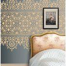 stencil wall ideas bedroom headboard