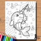 INSTANT DOWNLOAD Cute Christmas Narwhal Page Print, doodle art, printable