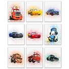 Cars Movie Poster Prints - Set of 9 (8 inches x 10 inches) Watercolor Photos - Lightning McQueen Tow Mater Doc Hudson Jackson Storm Cruz Ramirez - 8 x 10 Inch