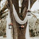 GET THE LOOK: Wedding Arbor ideas DIY wedding arbor decorations hand dyed cheesecloth