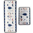 Leebei Kitchen Rugs Floor Mat Kitchen Mats Set Non Slip Washable,Indoor Doormats Area Rugs for Kitchen Bedroom Bathroom Carpet 15.7×23.6 inch +15.7×47.2 inch   Pictogram fish