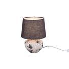 Kleine bauchige Keramik LED Tischleuchte Stoffschirm in grau Ø18cm Höhe 25cm