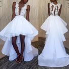 High Low Tulle Organza A Line White Appliques Short Wedding Dresses 2022   White / US4