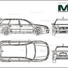 Audi RS6 Avant 2002   2D drawing blueprints   25524   Model COPY   English