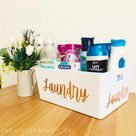 LARGE WHITE STORAGE Box Personalised Home Organisation Caddy Tub Cleaning Organiser Mrs Hinch Inspired Hinching Storage Laundry Basket