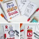 ABC Book Baby Shower Activity / Personalized Alphabet Coloring | Etsy