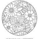 Outline Round Floral Pattern Coloring Book: image vectorielle de stock (libre de droits) 1031539021