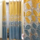 Modern Curtain Embroidered Leaf Curtain (One Panel)