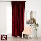 Puude Home Design Burgundy Luxury Velvet Curtain,Custom Size,Window Curtain Panel,Drapery,Dining Room Curtains,Bedroom,Red Velvet Fabric,Solid Color,Home Deco - 52*72 (1 Pannel) Inches / 32