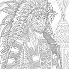 Coloring pages for adults. Digital coloring pages. Native American Indian Chief Man. Printable adult coloring book. Instant download.