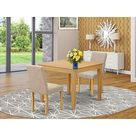OXAB3-OAK-04 Square 36 Inch Table and Parson Chairs in Light Fawn Linen Fabric - Oak Finish (Pieces Option) (OXAB3-OAK-04), Brown, East West Furniture