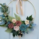 101 Spring Hoop Wreaths for Front Door - DIY gold, wood,  metal embroidery hoops for Easter porch