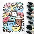 Kawaii Coffee free colouring page