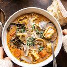 Healthier Slow Cooker Creamy Tortellini Vegetable Soup. - Half Baked Harvest