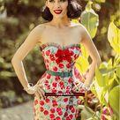 vintage retro pinup strapless sweetheart neckline bow cherry print tight dress — GOOD GIRL REBEL