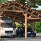 Carport camping-car Oxalis toit 2 pentes 7.30x8.76m pin Douglas