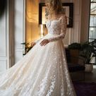 Muse wedding with long sleeves , low back , A line wedding dress