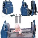 3 In 1 Diaper Bag Backpack Foldable Baby Bed Waterproof Travel Bag with USB Charge Diaper Bag Backpack with Changing Bed - TYPE1 Blue / United States