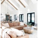 modern farmhouse living room leather couch
