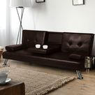 Adjustable Sofa Bed Lounge Futon Couch Leather Beds 3 Seater Cup Holder Recliner Brown