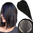 Up to 70% Off Full Shine Hair Pieces for Hair Loss Real Human Hair 5*5 Toupee With Clip Ins #1B - 8\ (5\*5\) / #1B