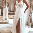 Ivory Boho Chiffon Top Lace Beach Wedding Dresses With Side Split PW261   US10 / As Picture