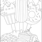 Ice cream Pusheen - Doodle Art / Doodling Coloring Pages for Adults - Just Color