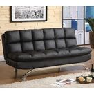 Mussina Contemporary Leatherette Sofa Futon Bed - FUTON ONLY / BLACK