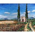 Giclee Painting: Neal's Chapel and Two Trees, Tuscany, 2005, 24x16in.