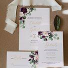 OPHELIA - Plum & Eucalyptus Wedding Bundle, Wedding Invitation Template, Instant Download, Editable Wedding Bundle, Printable Wedding Set